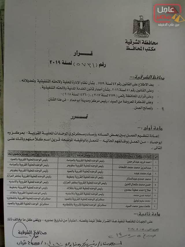 Photo of حركة تغيير رؤساء الوحدات المحلية بأبو حماد للارتقاء بخدمات المواطنين