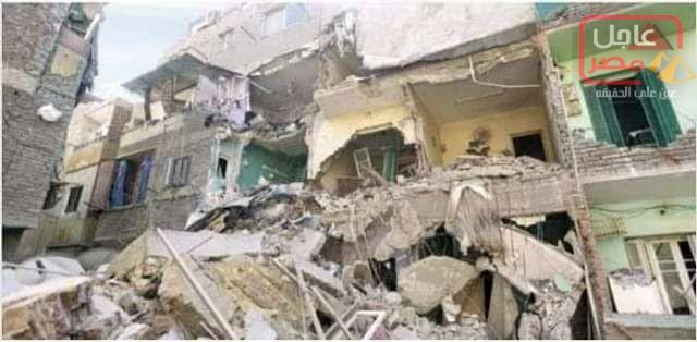 صورة إنفجار أنبوبه غاز بمنزل بمركز بسيون ومصرع الأم وإصابه أولادها الثلاثه.