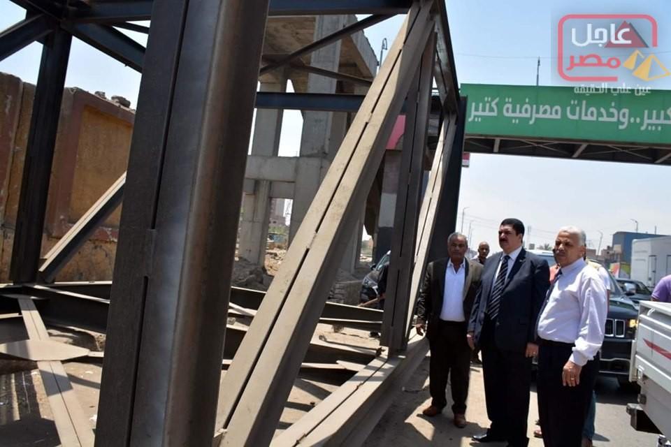 صورة مرزوق يتفقد كباري مشاه ميت حلفا وابو سنة وقليوب المحطة بتكلفة 10 مليون جنيه
