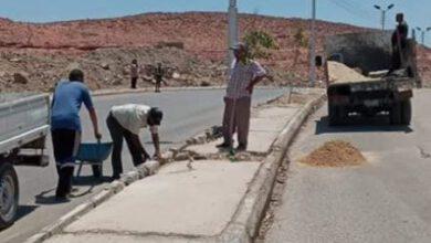 Photo of الوحدة المحلية باسوان جاري استكمال اعمال الصيانة والنظافة لطريق الصداقة الجديد