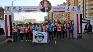 صورة من محور المحمودية للبشاير.. وزير الرياضة يقود ماراثون للدراجات الهوائية بالإسكندرية